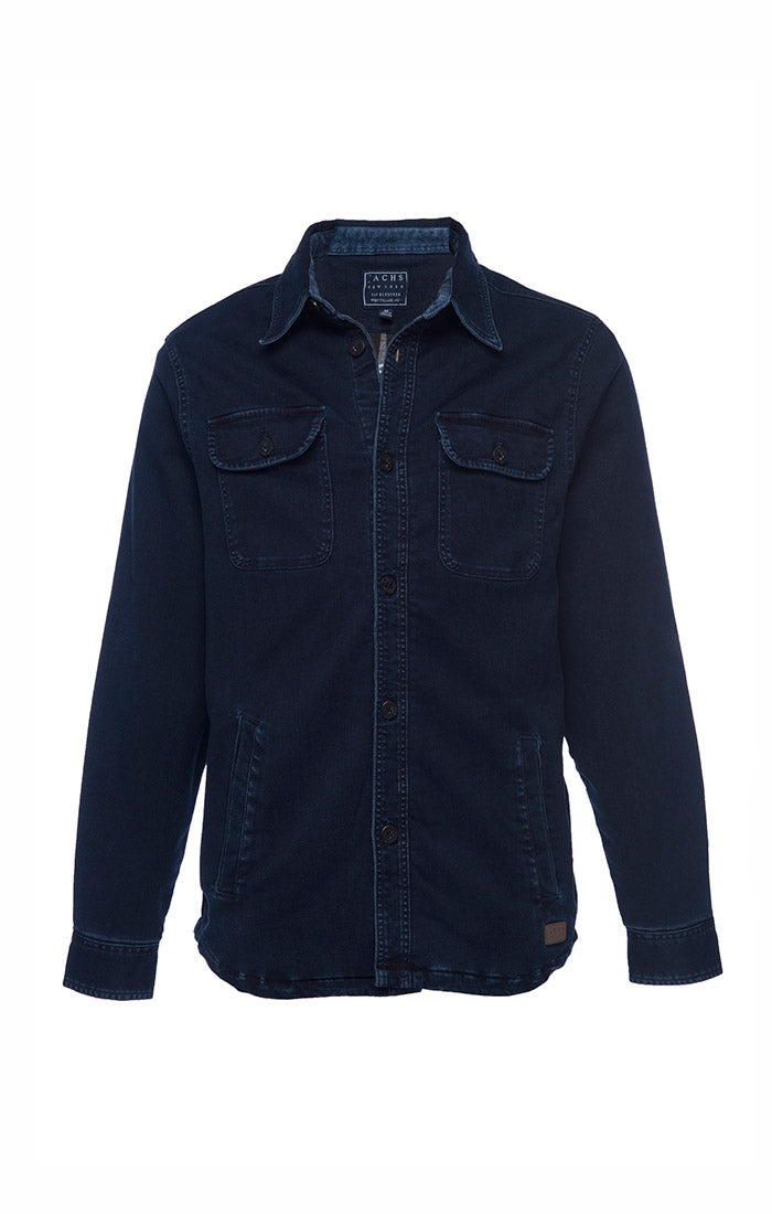 Navy Stretch Flannel Lined Shirt Jacket