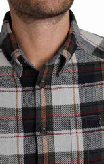 Grey Plaid Heavy Twill Flannel Shirt