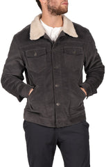 Charcoal Sherpa Stretch Corduroy Trucker Jacket - JACHS NY