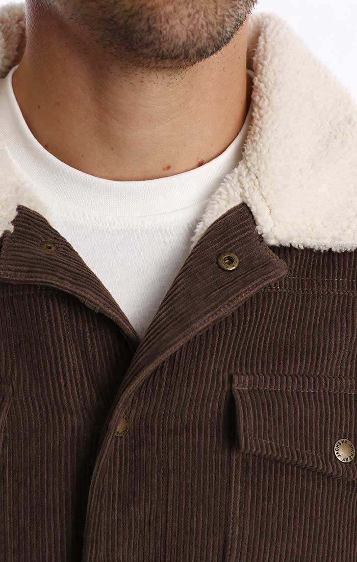 Brown Lined Stretch Corduroy Trucker Jacket