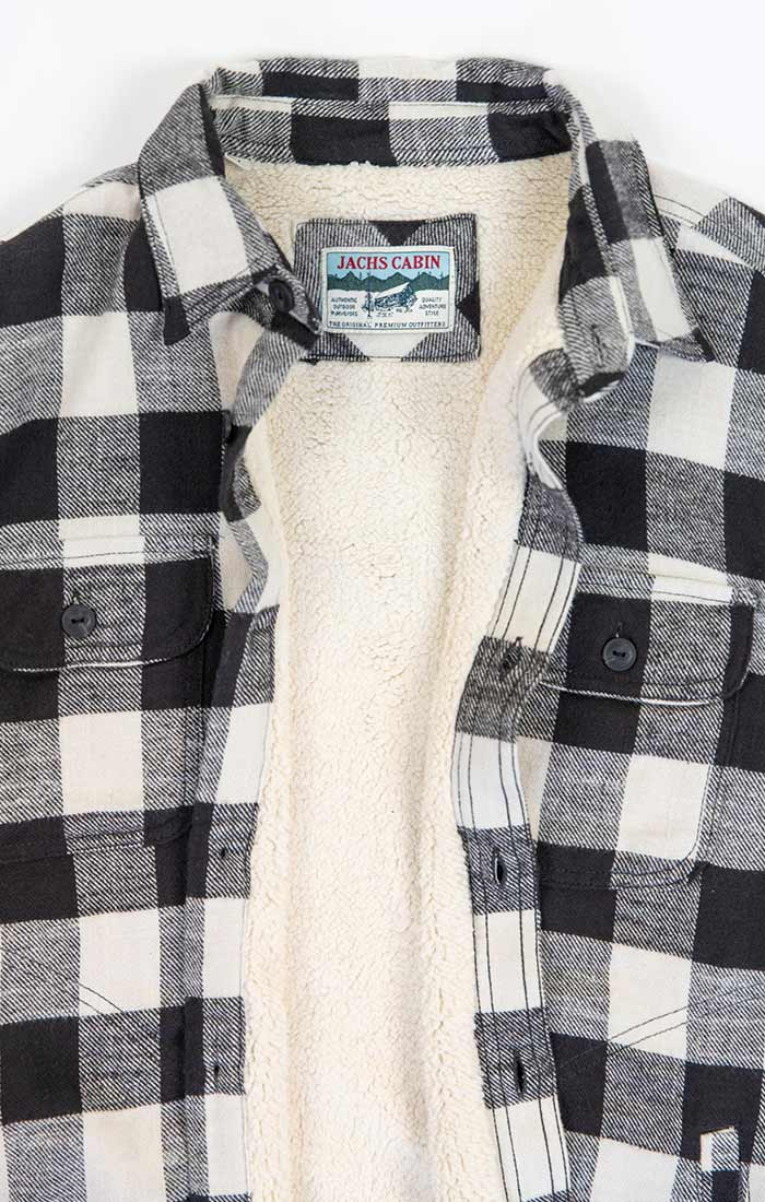 Ivory Sherpa Lined Flannel Shirt Jacket