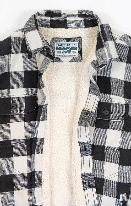 Ivory Sherpa Lined Flannel Shirt Jacket - jachs