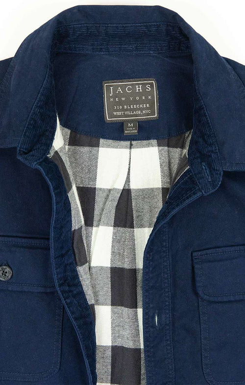Navy Stretch Flannel Lined Shirt Jacket - jachs