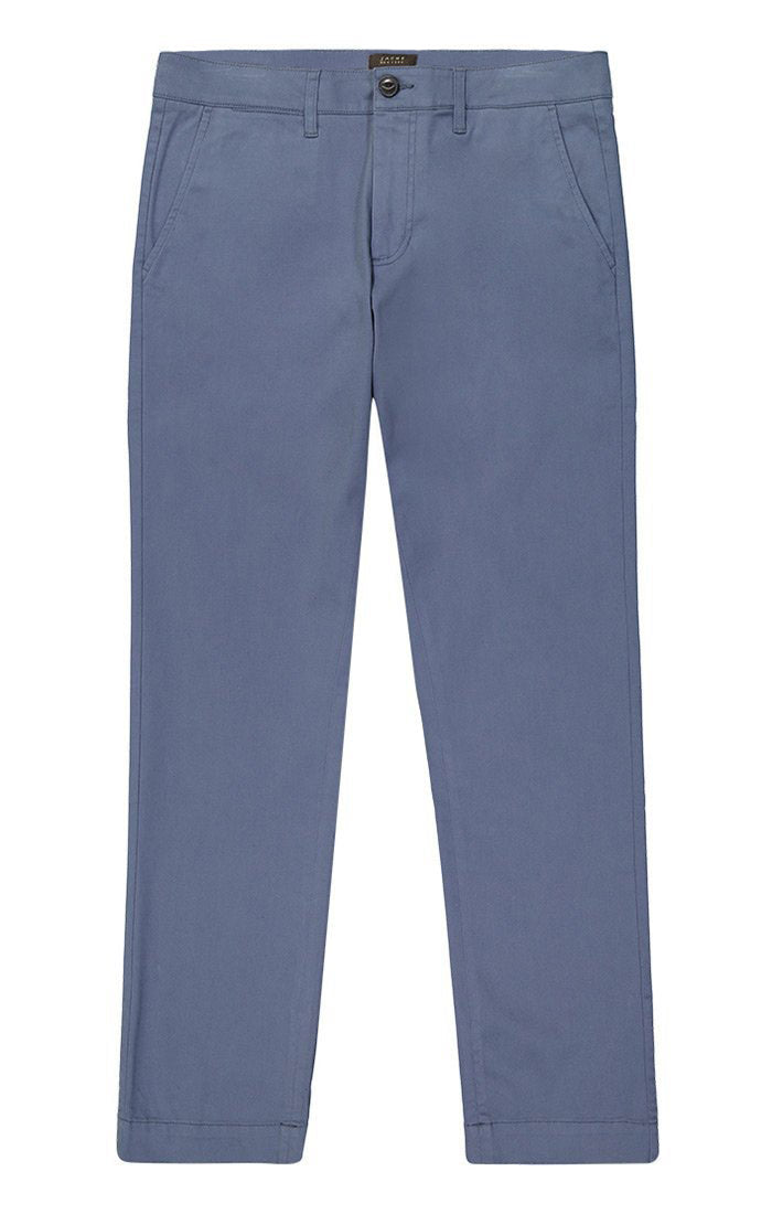 Slate Blue Flannel Lined Straight Fit Stretch Bowie Chino - jachs