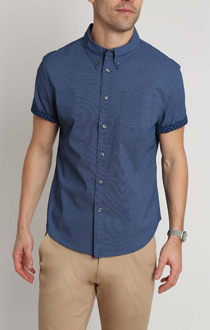 Blue Micro Print Short Sleeve Tech Shirt