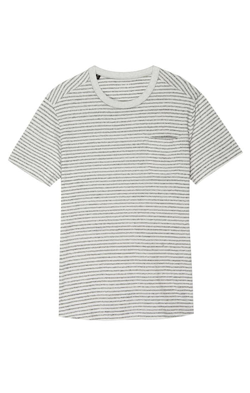White Stripe Cotton Linen Pocket Tee