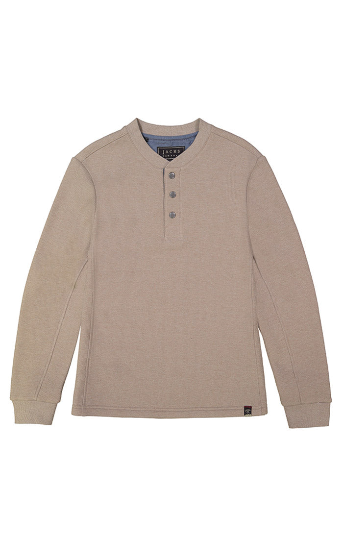 Stone Waffle Sherpa Lined Henley - jachs