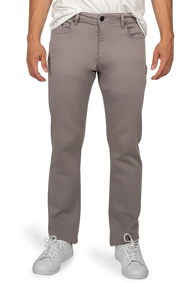 Grey Straight Fit Stretch Traveler Pant - jachs