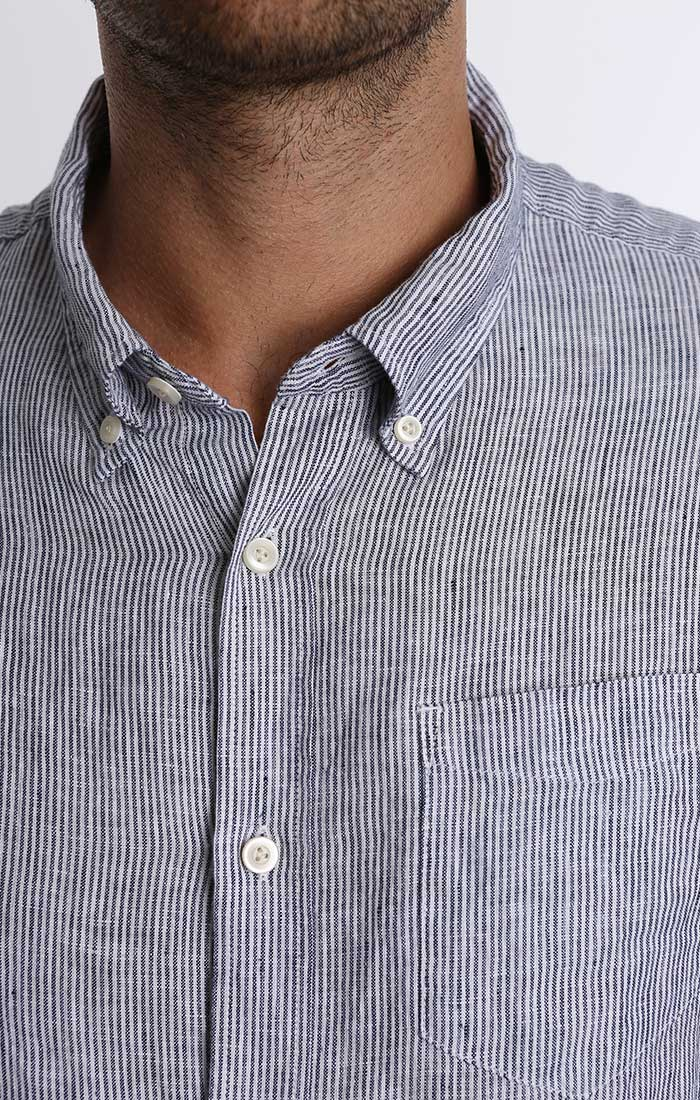 Blue Stripe Linen Shirt - jachs