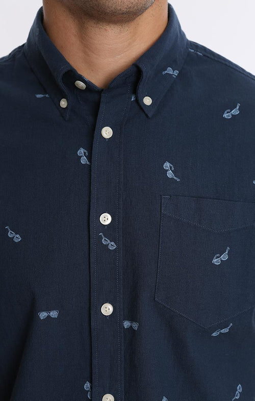 Sunglass Print Stretch Chambray Short Sleeve Shirt - jachs