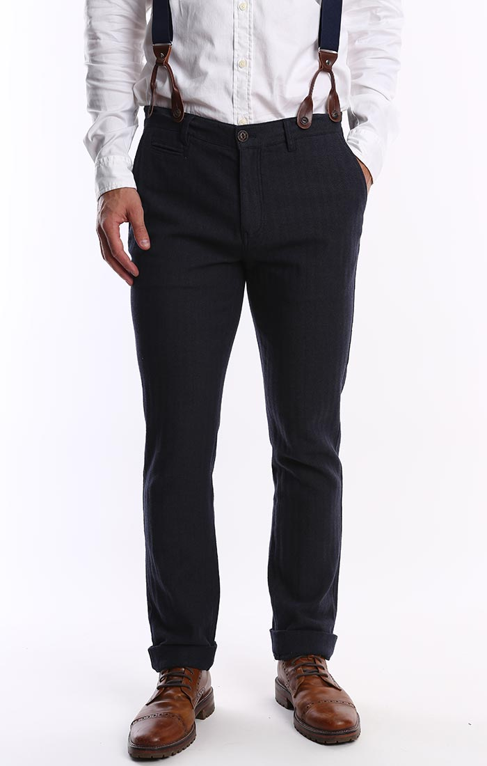 Navy Stretch Herringbone Suspender Pant