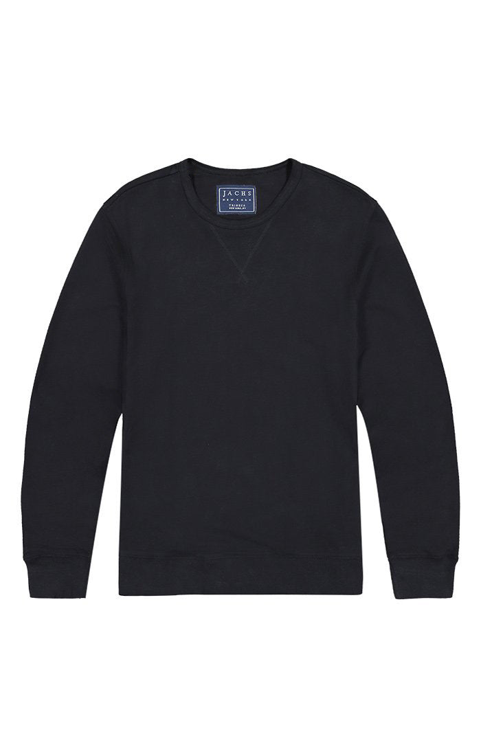 Jet Black French Terry Varsity Crewneck - jachs