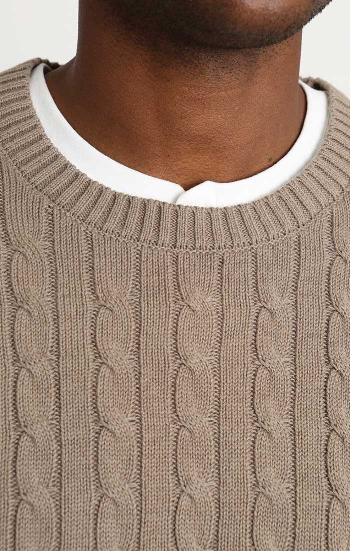 Tan Cotton Cashmere Cable Knit Sweater - JACHS NY