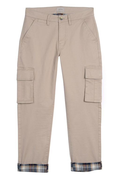 Tan Stretch Flannel Lined Cargo Pant - jachs