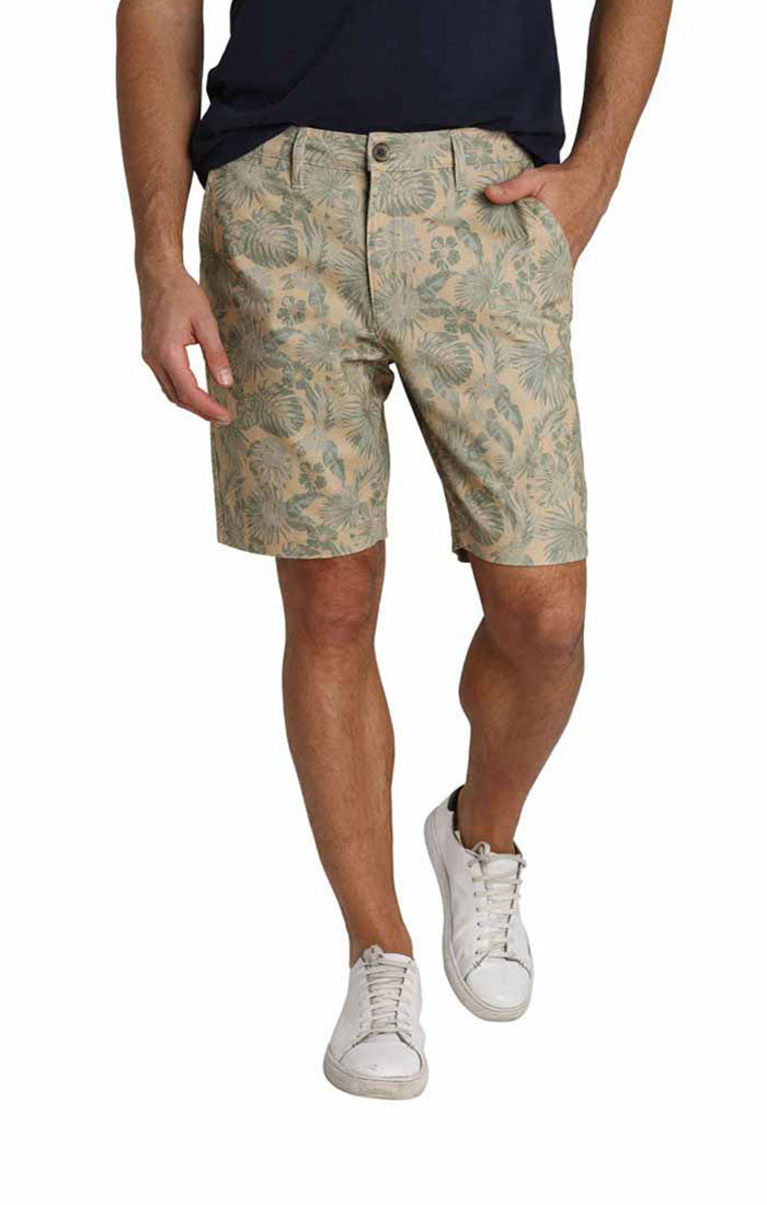 Tan Leaf Print Stretch Chino Short - jachs