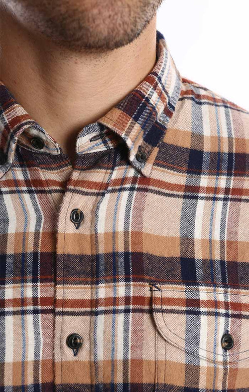 Tan Plaid Flannel Shirt