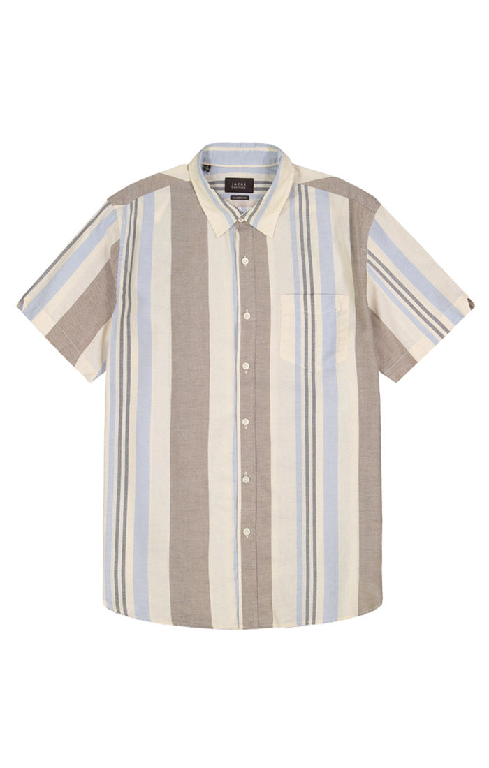 Tan Stripe Short Sleeve Oxford Shirt - jachs