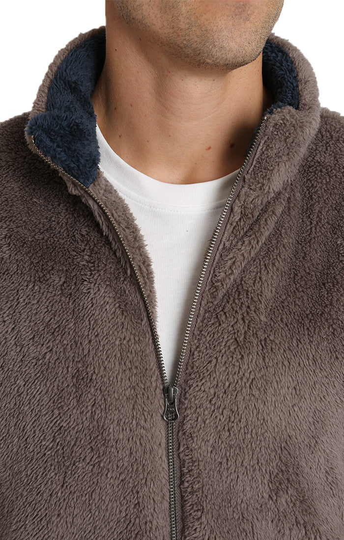 Taupe Teddy Sherpa Stretch Zip Jacket - JACHS NY