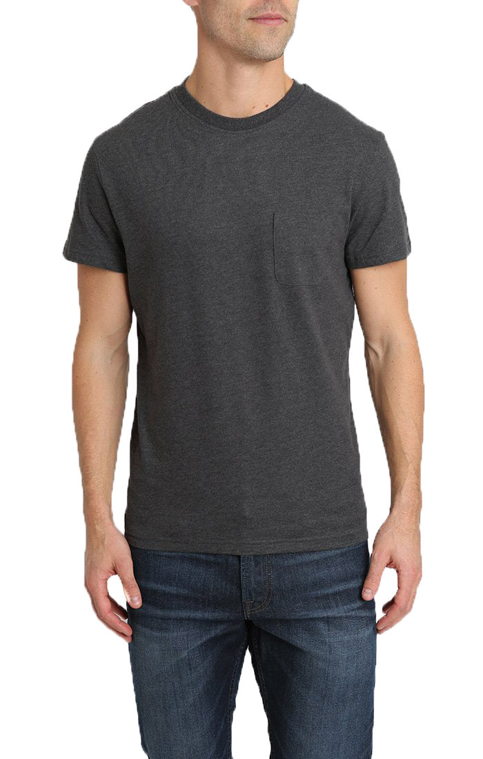 Dark Heather Grey Sueded Cotton Pocket Tee - jachs