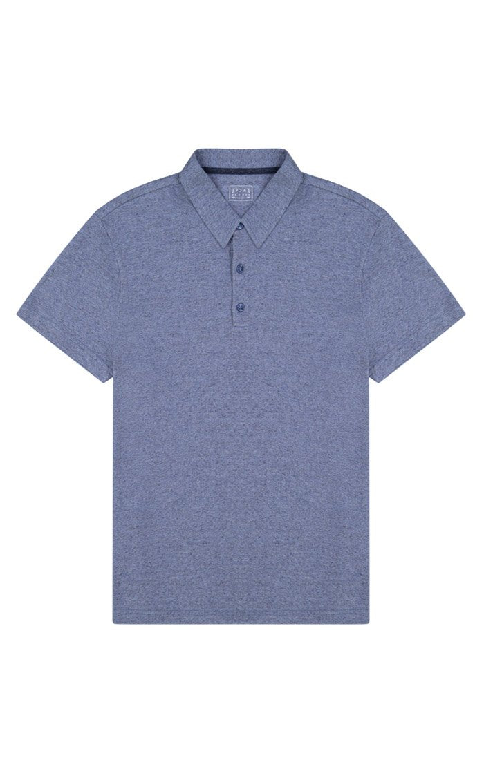 Blue Heathered Linen TriBlend Polo