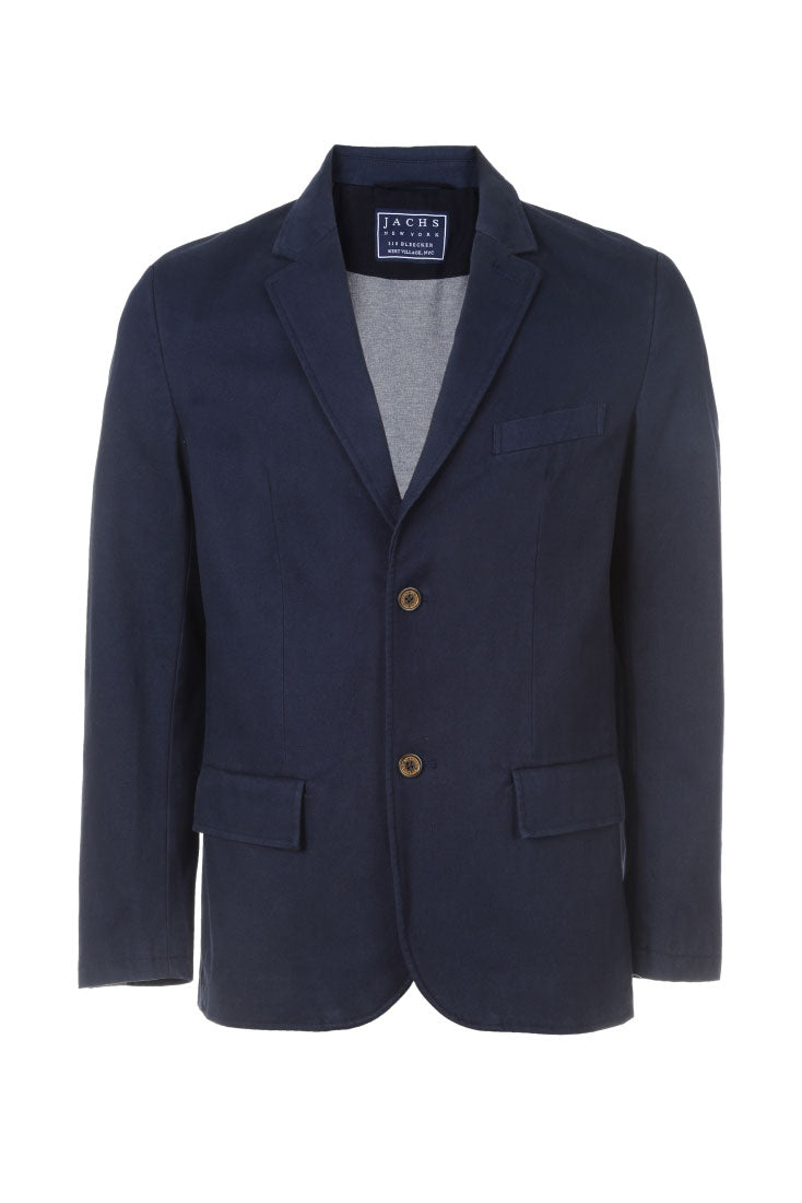 Navy Stretch Cotton Moleskin Blazer
