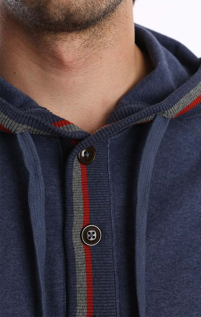 Blue Fleece Stretch Varsity Hooded Henley