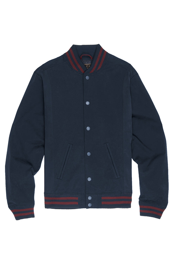 Navy Stretch Varsity Jacket