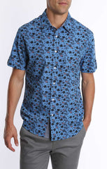 Blue Vine Print Short Sleeve Shirt