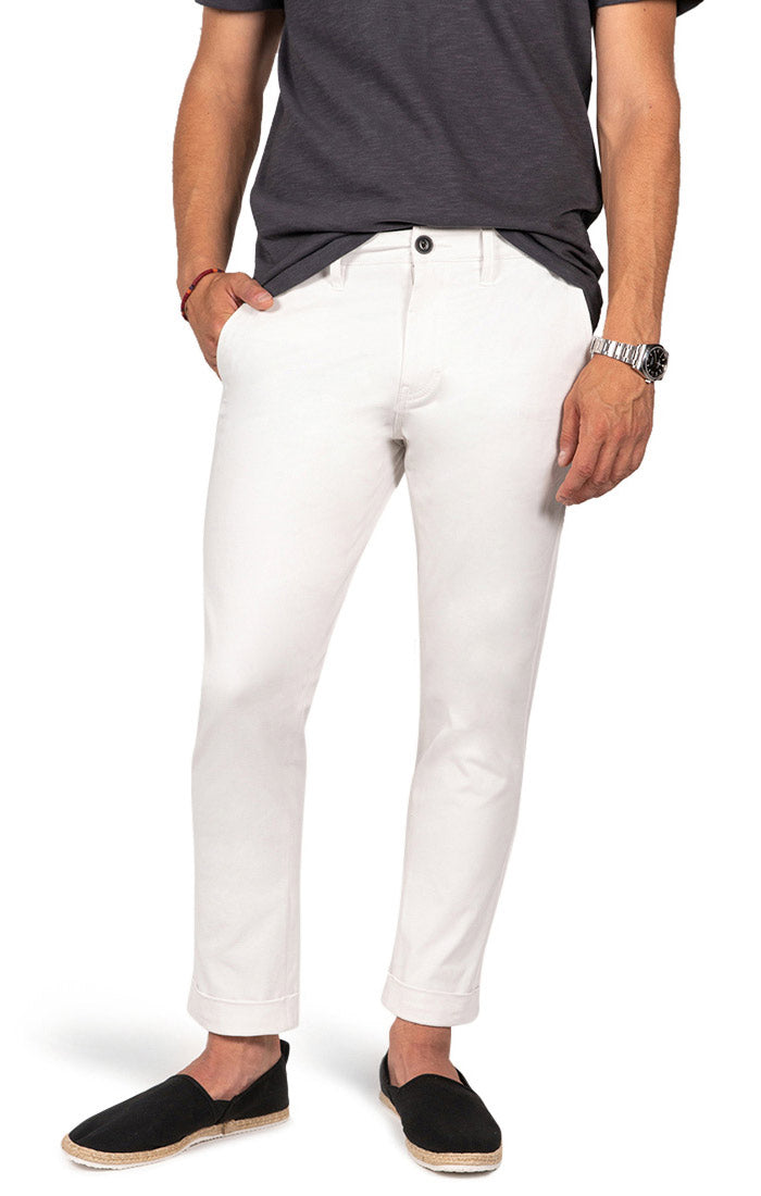 White Cropped Fit Stretch Bowie Chino - jachs