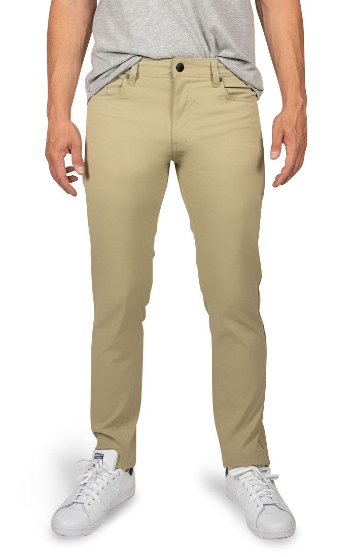 Tan Straight Fit Stretch Tech Pant - jachs