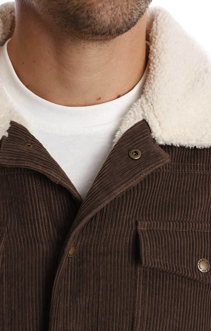 Brown Sherpa Stretch Corduroy Trucker Jacket