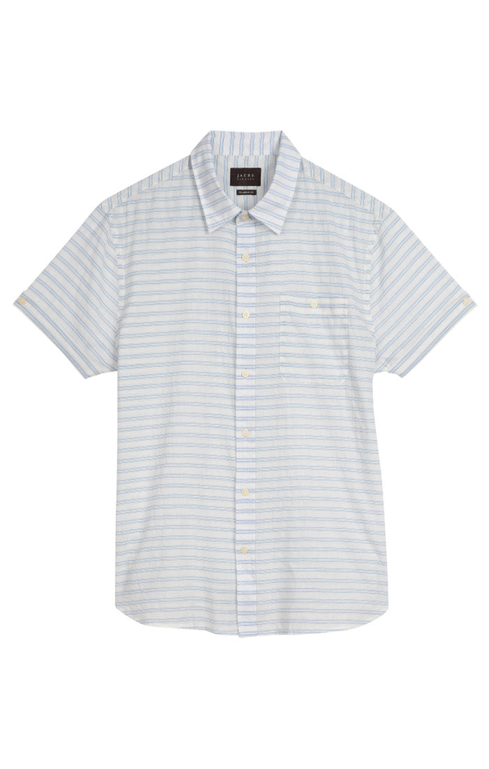 White Stripe Short Sleeve Shirt - jachs