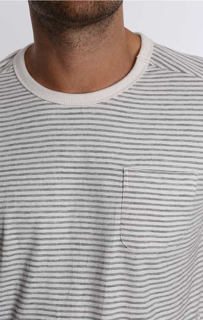 White Stripe Cotton Linen Pocket Tee - jachs