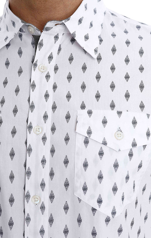 White Diamond Print Short Sleeve Shirt - jachs