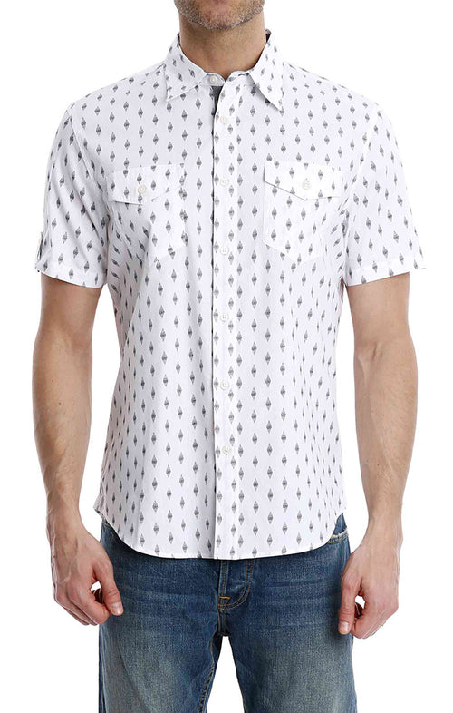 White Diamond Print Short Sleeve Shirt