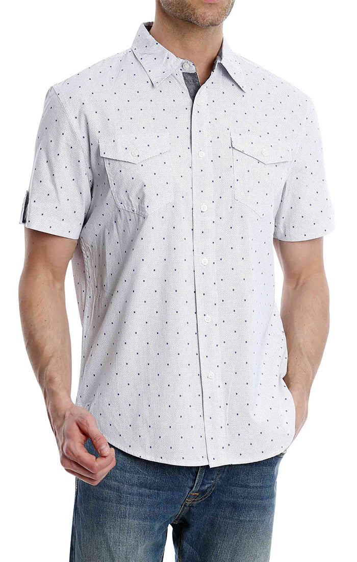 White Dot Print Short Sleeve Shirt - jachs