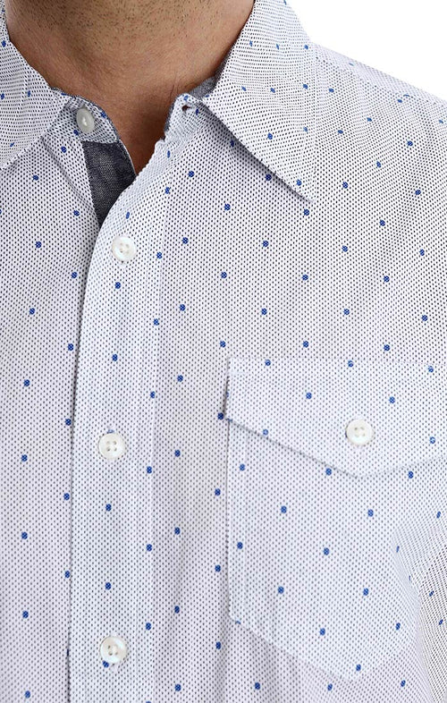 White Dot Print Short Sleeve Shirt
