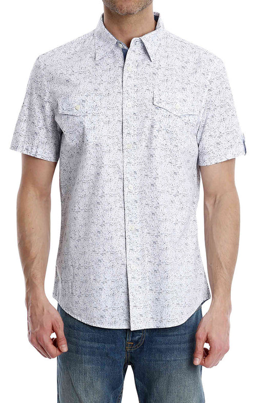 White Splatter Print Short Sleeve Shirt