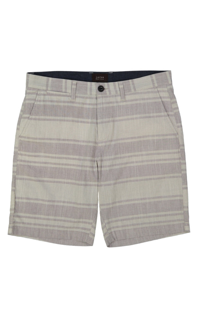 White Stripe Stretch Chambray Short