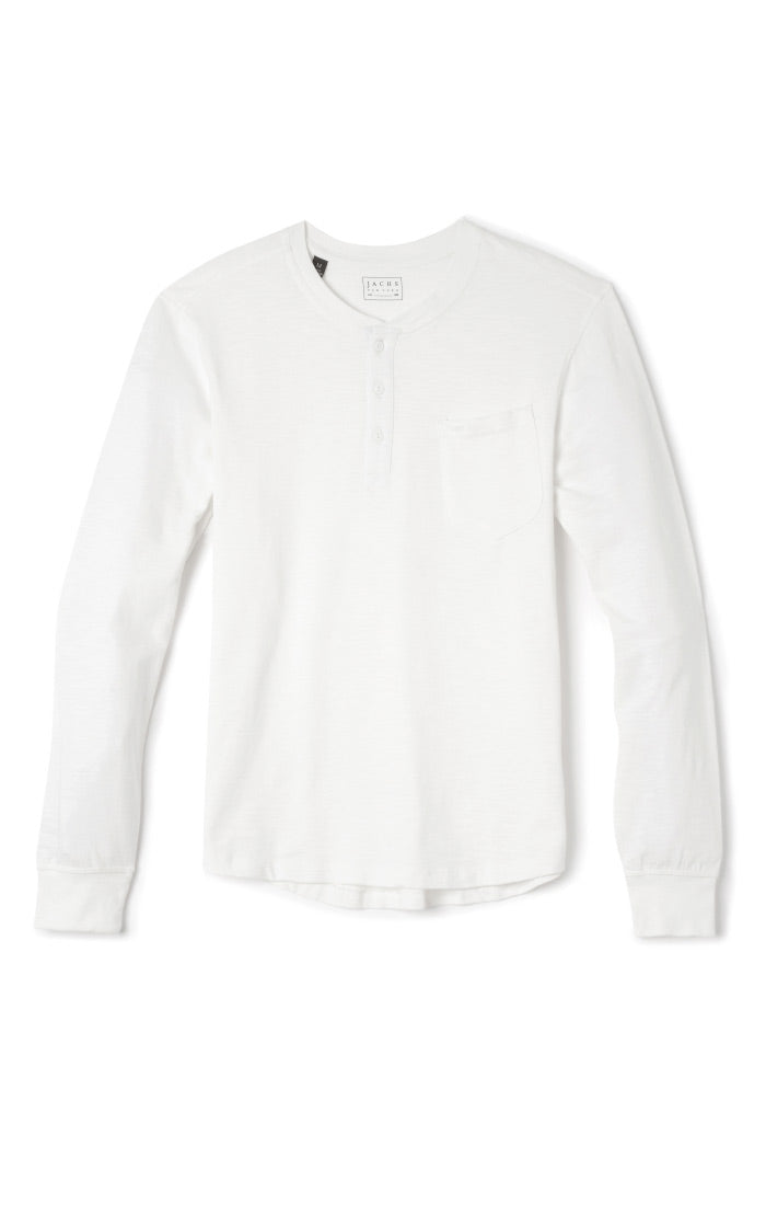 White Sueded Cotton Long Sleeve Henley - jachs