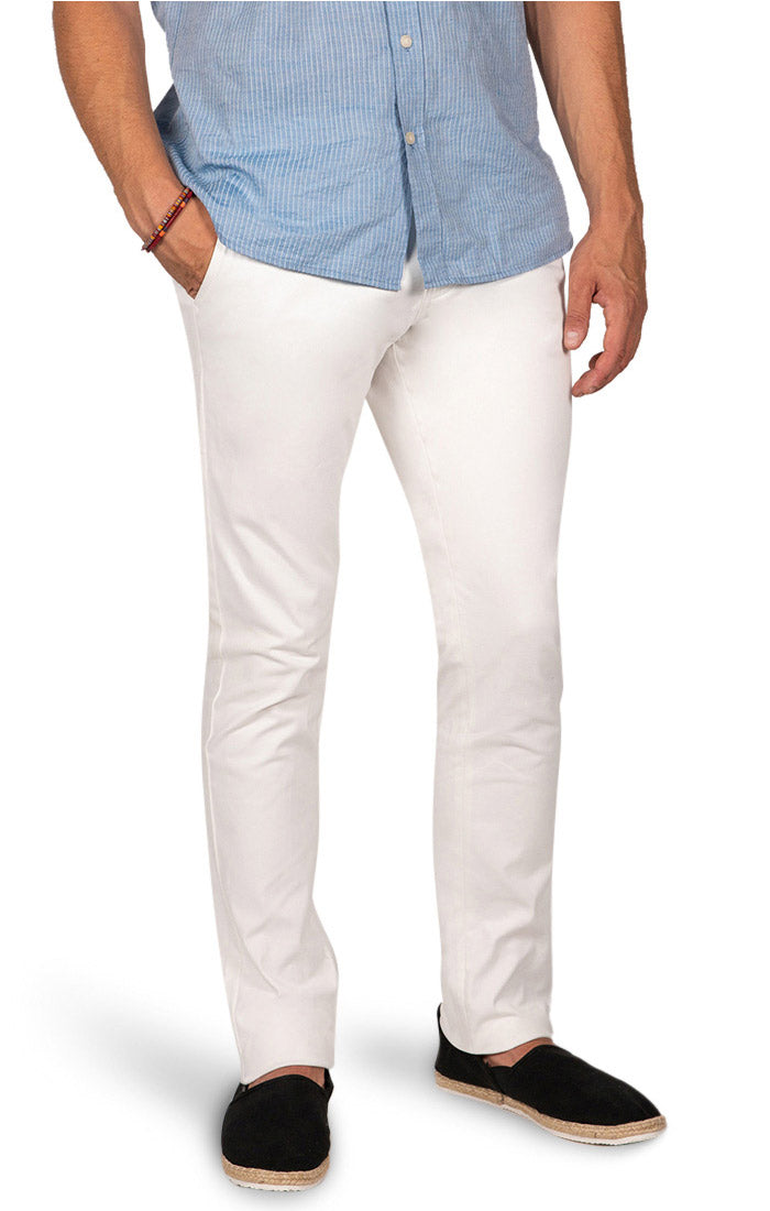 White Slim Fit Stretch Bowie Chino - jachs
