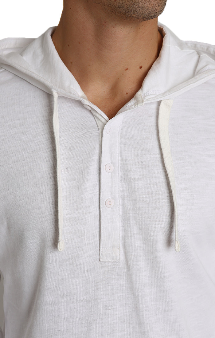 White Slub Cotton Hooded Henley - jachs