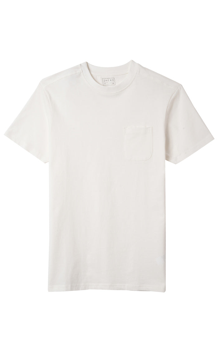 White Sueded Cotton Pocket Tee