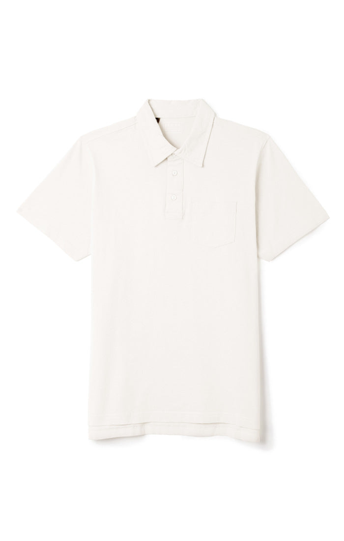 White Sueded Cotton Polo