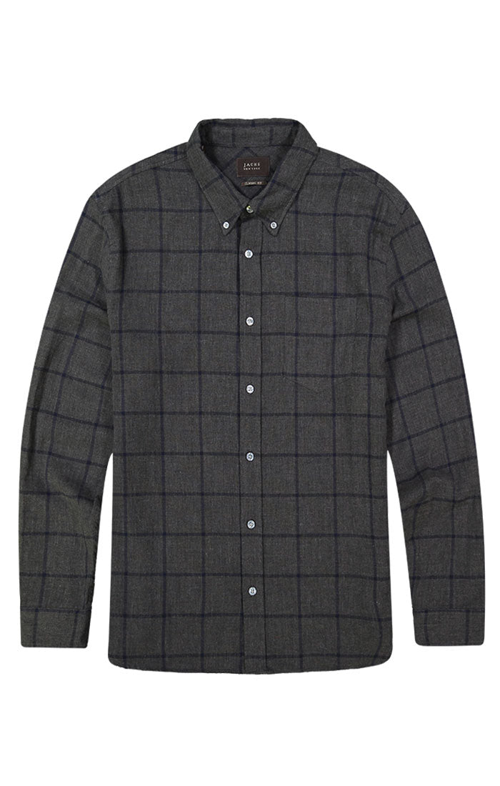 Windowpane Stretch Double Face Shirt - jachs