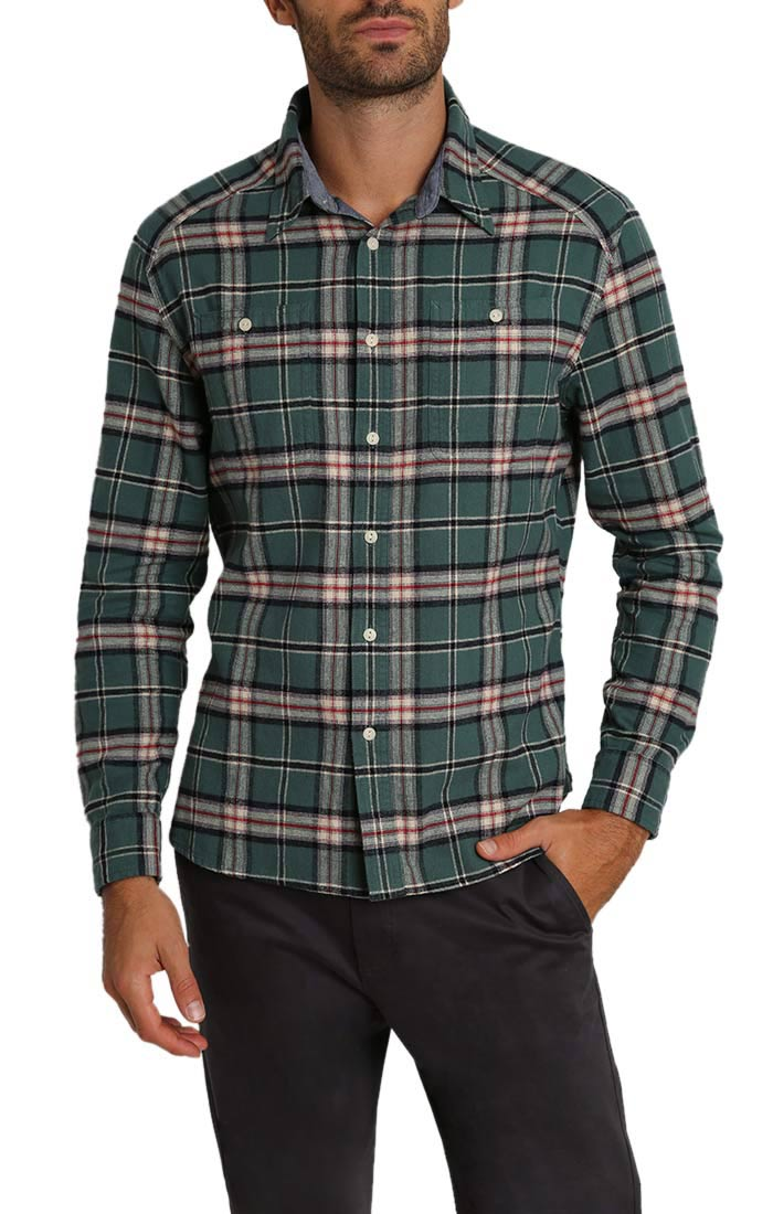 Green Plaid Flannel Shirt