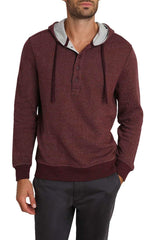 Burgundy Striped Fleece Hooded Henley