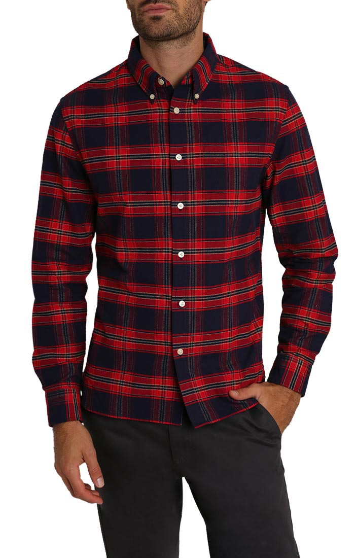 Red Plaid Brushed Oxford Shirt
