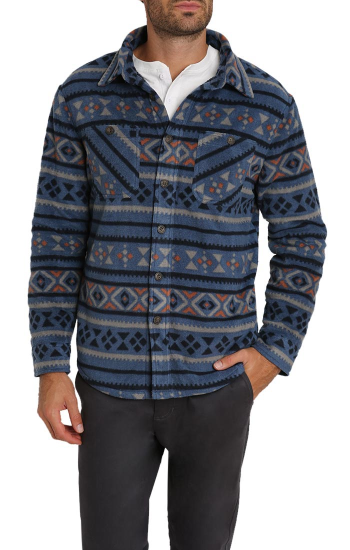Aztec Sherpa Polar Fleece Shirt Jacket - jachs
