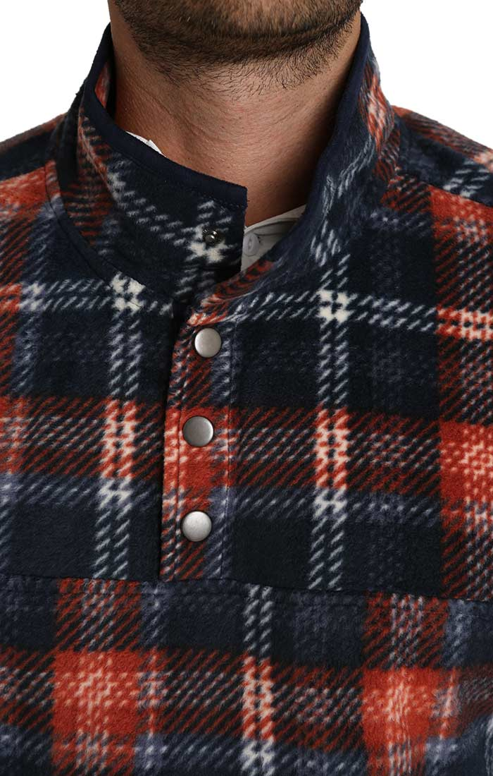 Navy Plaid Fleece Mock Neck Pullover - jachs
